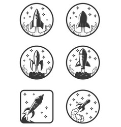 set of the rocket launch icons design elements vector image vector image