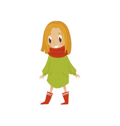 sweet cartoon girl character in green coat and red vector image