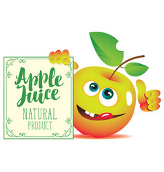 banner for apple juice with a cute character apple vector image vector image