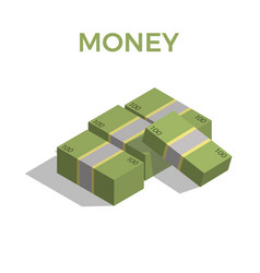 big stacked pile of cash hundreds of dollars vector image