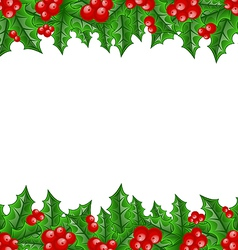 Christmas decoration holly berry branches vector image