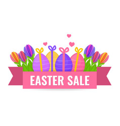 easter sale banner with beautiful colorful spring vector image vector image