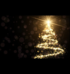 golden background with christmas tree vector image vector image