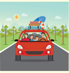 happy family driving in red car on weekend holiday vector image vector image