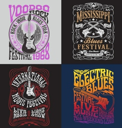 Vintage rock poster t-shirt design set vector