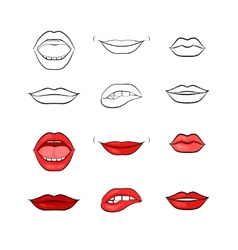 woman lips and mouth silhouettes vector image vector image