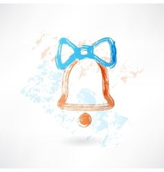 bell with a bow grunge icon vector image vector image