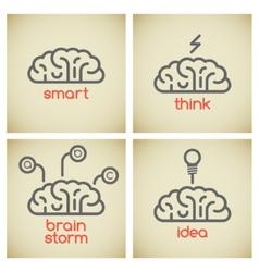 Brain logo set vector image vector image