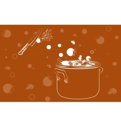 cooking soup with vegetables background vector image vector image