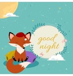 Good night card with cute cartoon sleepy fox on vector image