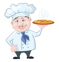 cook holds a hot pizza vector image vector image