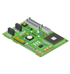 electronic computer board isometric view vector image