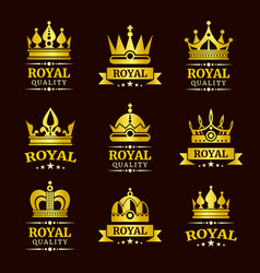Golden royal quality crown logo templates vector