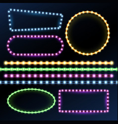 neon and led strips and diode light border frames vector image