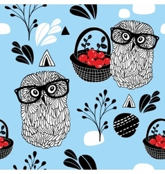 Winter berries seamless background with clever vector image vector image