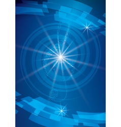 abstract blue musical background with treble clef vector image