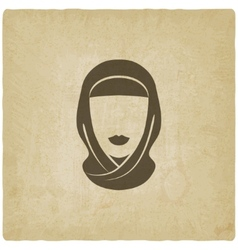Arabic woman avatar old background vector image