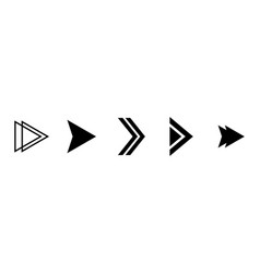 arrows right set isolated black arrow vector image
