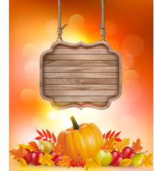 autumn background with fruit and leaves and vector image