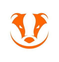 Badger head orange simple symbol logo design vector