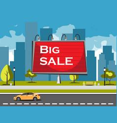 big sale billboard in city vector image