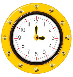 black and yellow stripes bee clock vector image