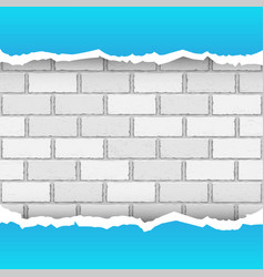 Blue torn paper brickwork background vector