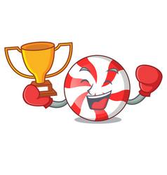 Boxing winner peppermint candy mascot cartoon vector