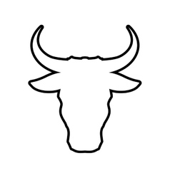 Bull horn animal silhouette farm icon vector