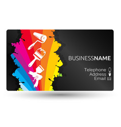 Business card for painting the layout vector