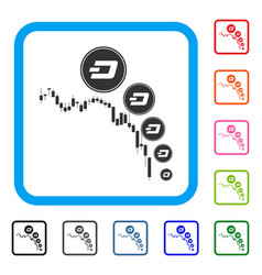 Candlestick chart dashcoin deflation framed icon vector