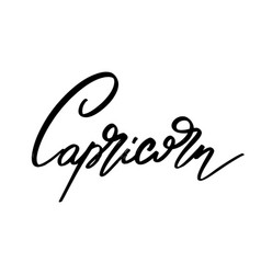 Capricorn hand drawn lettering isolated vector