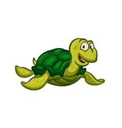 Cartoon swimming sea turtle character vector