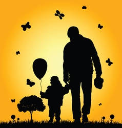 child in nature with father vector image