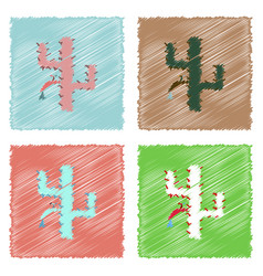 Collection of flat shading style icons cactus vector