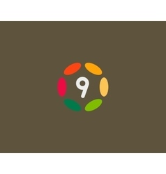 Color number 9 logo icon design Hub frame vector image