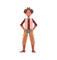 cowboy or sheriff american ranger in hat flat vector image