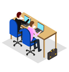 Coworking people using laptops office workers vector