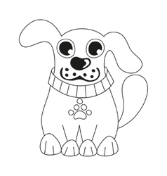 Cute dog wearing collar with pet paw tag coloring vector
