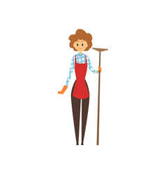 Cute young girl holding wooden mop cleaning vector