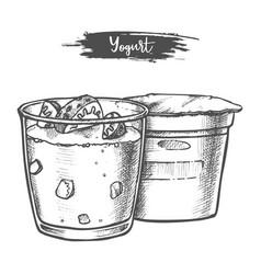 dairy products yogurt sketch milk food vector image