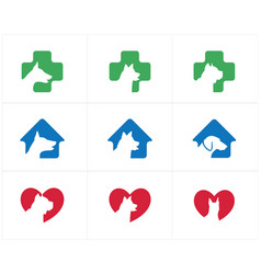 dog head logo set pet care center icon vector image