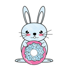 Doodle male rabbit animal with sweet donut vector