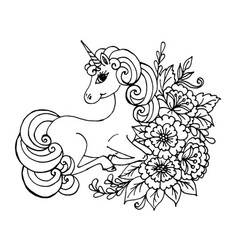doodle unicorn lies in colors black vector image