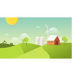 Eco village organic farming concept vector
