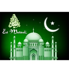 Eid Mubarak moon and star background with mosque vector image