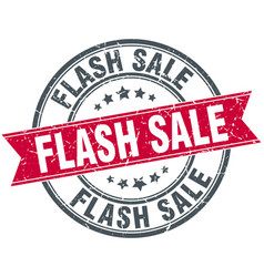 flash sale round grunge ribbon stamp vector image