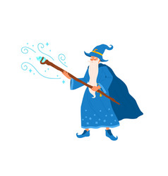 funny gray haired wizard with witchery cane vector image