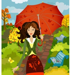 girl fall under the umbrella vector image