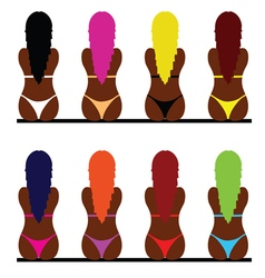 Girl in bikini set three vector